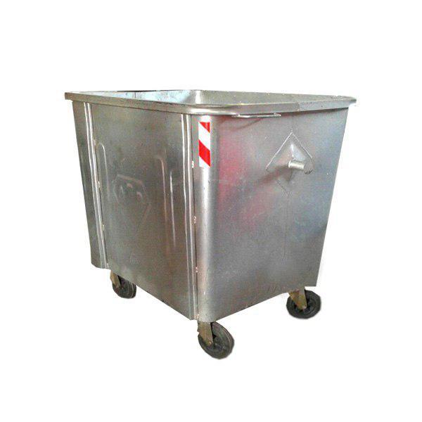مخزن زباله گالوانیزه 660 لیتری چهارگوش با ورق 2 بدون درب